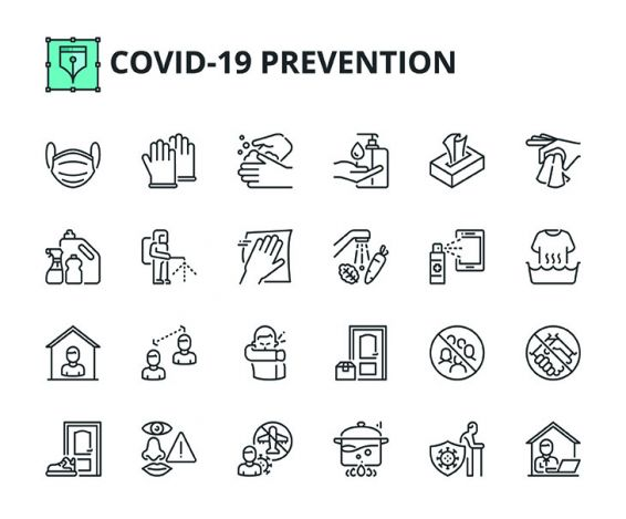 COVID-19, Prävention, Icons, Arbeitsschutz